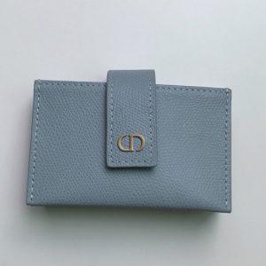 Replica Christian Dior S2058 30 Montaigne 5-gusset card holder in Dark Denim Blue Grained Calfskin