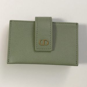 Replica Christian Dior S2058 30 Montaigne 5-gusset card holder in Green Grained Calfskin