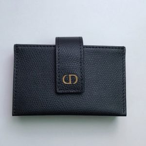 Replica Christian Dior S2058 30 Montaigne 5-gusset card holder in Black Grained Calfskin