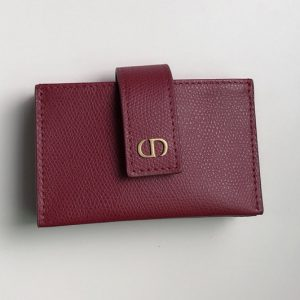 Replica Christian Dior S2058 30 Montaigne 5-gusset card holder in Red Grained Calfskin