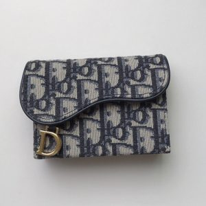 Replica Christian Dior S5644 Saddle 5-pocket card holder in Blue Dior Oblique Jacquard