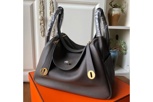 Replica Hermes Lindy 26cm Bag in Original Dark Gray Togo Leather With Gold Buckle