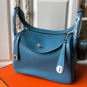 Replica Hermes Lindy 26cm Bag in Original Blue Togo Leather With Silver Buckle
