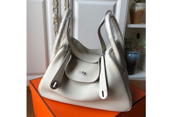 Replica Hermes Lindy 26cm Bag in Original White Togo Leather With Silver Buckle