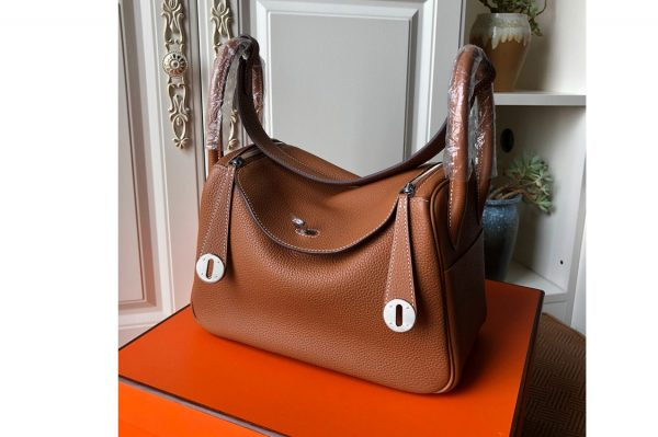 Replica Hermes Lindy 26cm Bag in Original Brown Togo Leather With Silver Buckle