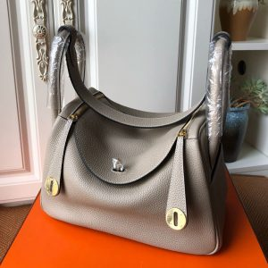 Replica Hermes Lindy 26cm Bag in Original Gray Togo Leather With Gold Buckle