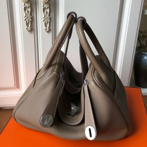 Replica Hermes Lindy 26cm Bag in Original Dark Gray Togo Leather With Silver Buckle