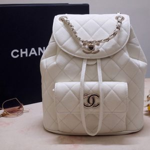 Replica CC 1168 Backpack in White Grained Calfskin