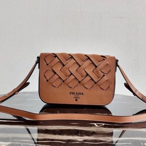 Replica Prada 1BD246 Leather Prada Tress Shoulder Bag in Cognac/Black Woven Leather