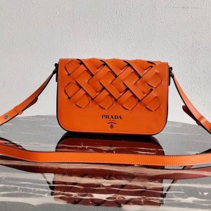 Replica Prada 1BD246 Leather Prada Tress Shoulder Bag in Papaya/Black Woven Leather
