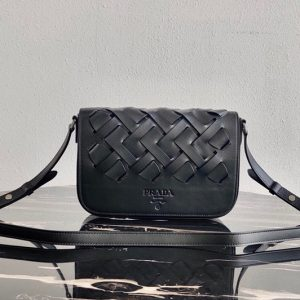 Replica Prada 1BD246 Leather Prada Tress Shoulder Bag in Black Woven Leather