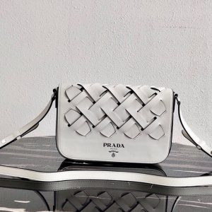 Replica Prada 1BD246 Leather Prada Tress Shoulder Bag in White/Black Woven Leather