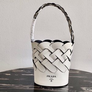 Replica Prada 1BE049 Leather Prada Tress Bucket Bag in White/Black Woven Leather