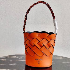 Replica Prada 1BE049 Leather Prada Tress Bucket Bag in Papaya/Black Woven Leather