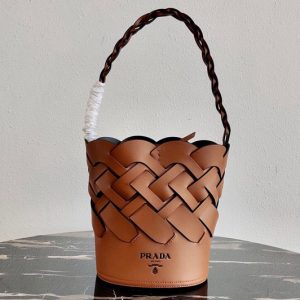 Replica Prada 1BE049 Leather Prada Tress Bucket Bag in Cognac/Black Woven Leather