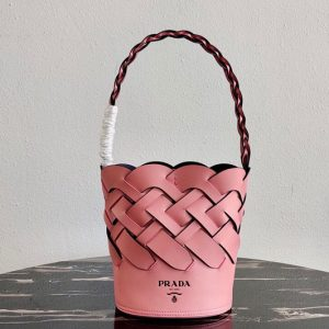 Replica Prada 1BE049 Leather Prada Tress Bucket Bag in Pink/Black Woven Leather