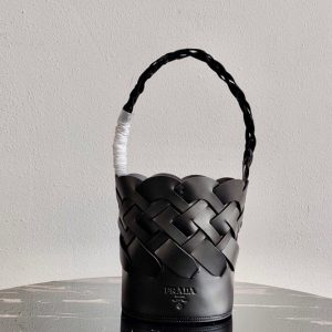 Replica Prada 1BE049 Leather Prada Tress Bucket Bag in Black Woven Leather