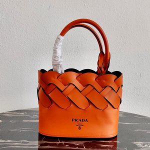 Replica Prada 1BG318 Leather Prada Tress Tote Bag in Papaya/Black Woven Leather