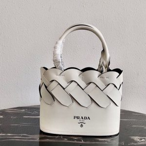 Replica Prada 1BG318 Leather Prada Tress Tote Bag in White/Black Woven Leather