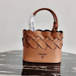 Replica Prada 1BG318 Leather Prada Tress Tote Bag in Cognac/Black Woven Leather