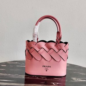 Replica Prada 1BG318 Leather Prada Tress Tote Bag in Petal Pink/Black Woven Leather