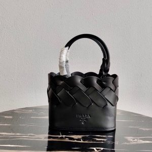 Replica Prada 1BG318 Leather Prada Tress Tote Bag in Black Woven Leather