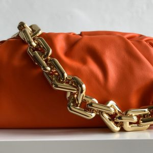 Replica Bottega Veneta 620230 BV The Chain Pouch Shoulder bag in Orange Calfskin Leather