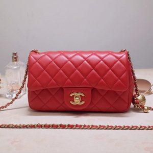 Replica CC AS1787 Flap Bag in Red Lambskin & Gold-Tone Meta