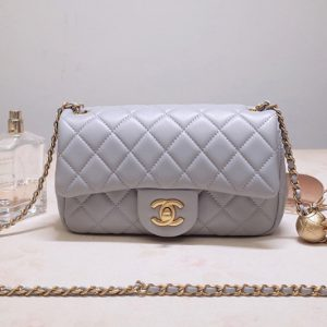 Replica CC AS1787 Flap Bag in Gray Lambskin & Gold-Tone Meta