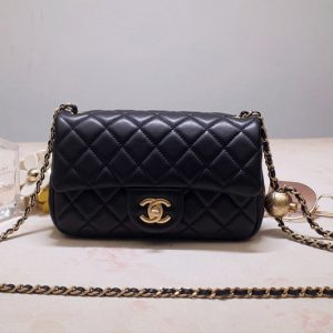 Replica CC AS1787 Flap Bag in Black Lambskin & Gold-Tone Meta