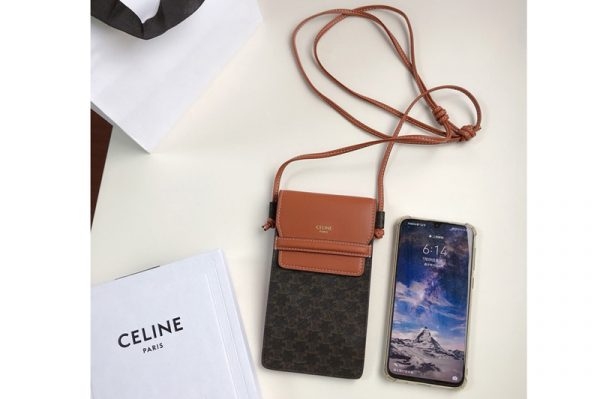 Replica Celine 10G332 Phone Pouch in Triomphe Canvas and Tan Lambskin