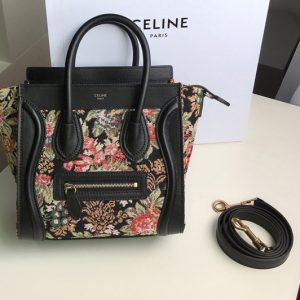 Replica Celine 189242 NANO LUGGAGE BAG IN FLORAL JACQUARD AND CALFSKIN