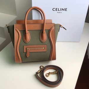 Replica Celine 189242 NANO LUGGAGE BAG IN TEXTILE AND NATURAL CALFSKIN