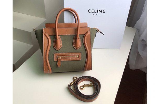 Replica Celine 189242 NANO LUGGAGE BAG IN TEXTILE AND NATURAL CALFSKIN