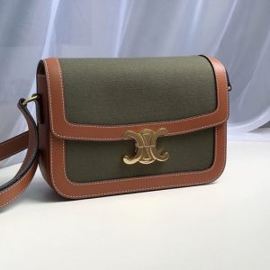 Replica Celine 191242 Medium Triomphe Bag in Green Textile and Brown Calfskin