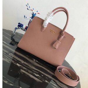 Replica Prada 1BA153 Large Saffiano Leather Handbag in Pink Saffiano Leather