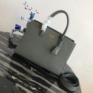 Replica Prada 1BA153 Large Saffiano Leather Handbag in Green Saffiano Leather