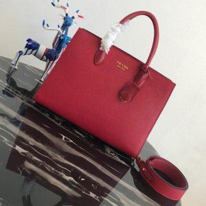 Replica Prada 1BA153 Large Saffiano Leather Handbag in Red Saffiano Leather
