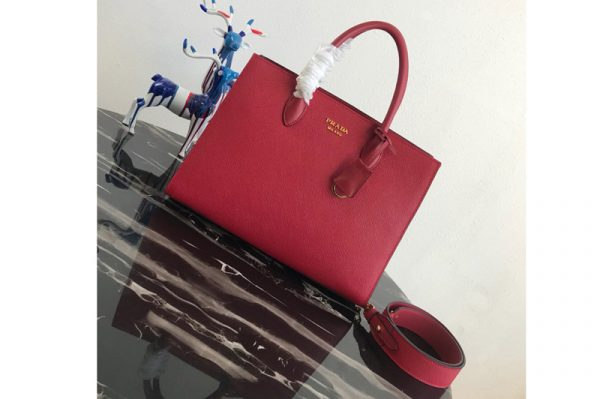 Replica Prada 1BA153 Large Saffiano Leather Handbag in Red Saffiano Leather