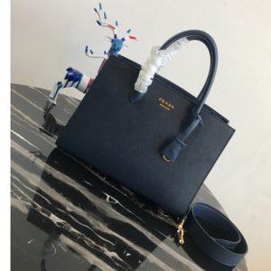 Replica Prada 1BA153 Large Saffiano Leather Handbag in Blue Saffiano Leather