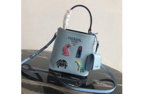 Replica Prada 1BA217 Small Prada Panier bag with appliqués in Light Blue Saffiano leather