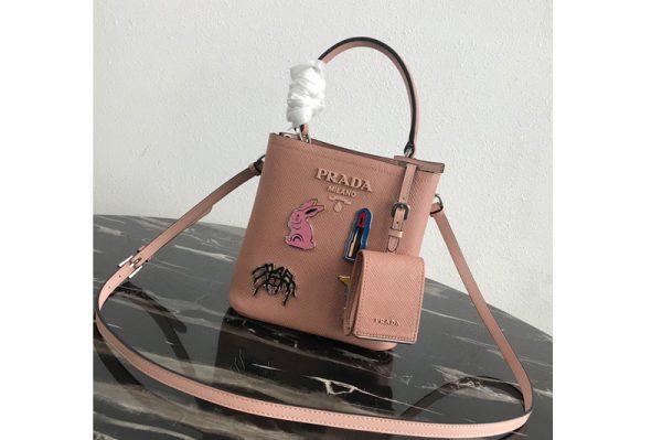 Replica Prada 1BA217 Small Prada Panier bag with appliqués in Pink Saffiano leather