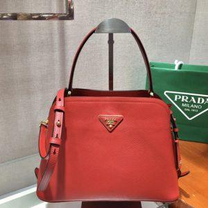 Replica Prada 1BA282 Medium Saffiano Leather Prada Matinee Bag in Red Saffiano Leather