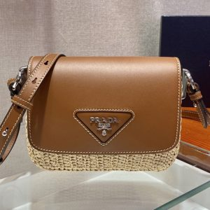 Replica Prada 1BD243 Raffia and Leather Shoulder Bag