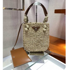 Replica Prada 1BG327 Corn Husk and Leather Tote Bag