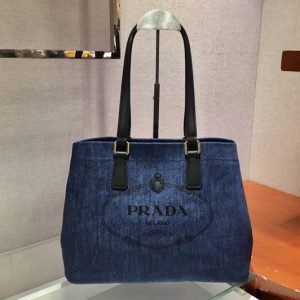 Replica Prada 1BG356 Small linen blend and leather tote bag in Blue Linen blend and calf leather