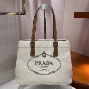 Replica Prada 1BG356 Small linen blend and leather tote bag in White Linen blend and calf leather