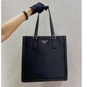 Replica Prada 1BG363 Leather and nylon tote bag in Black Nylon