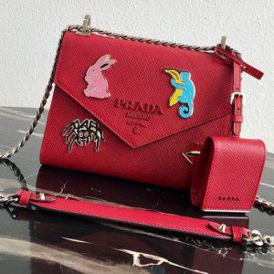 Replica Prada 1BD127 Saffiano Leather Prada Monochrome Bag with appliqués in Red Saffiano leather