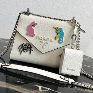 Replica Prada 1BD127 Saffiano Leather Prada Monochrome Bag with appliqués in White Saffiano leather